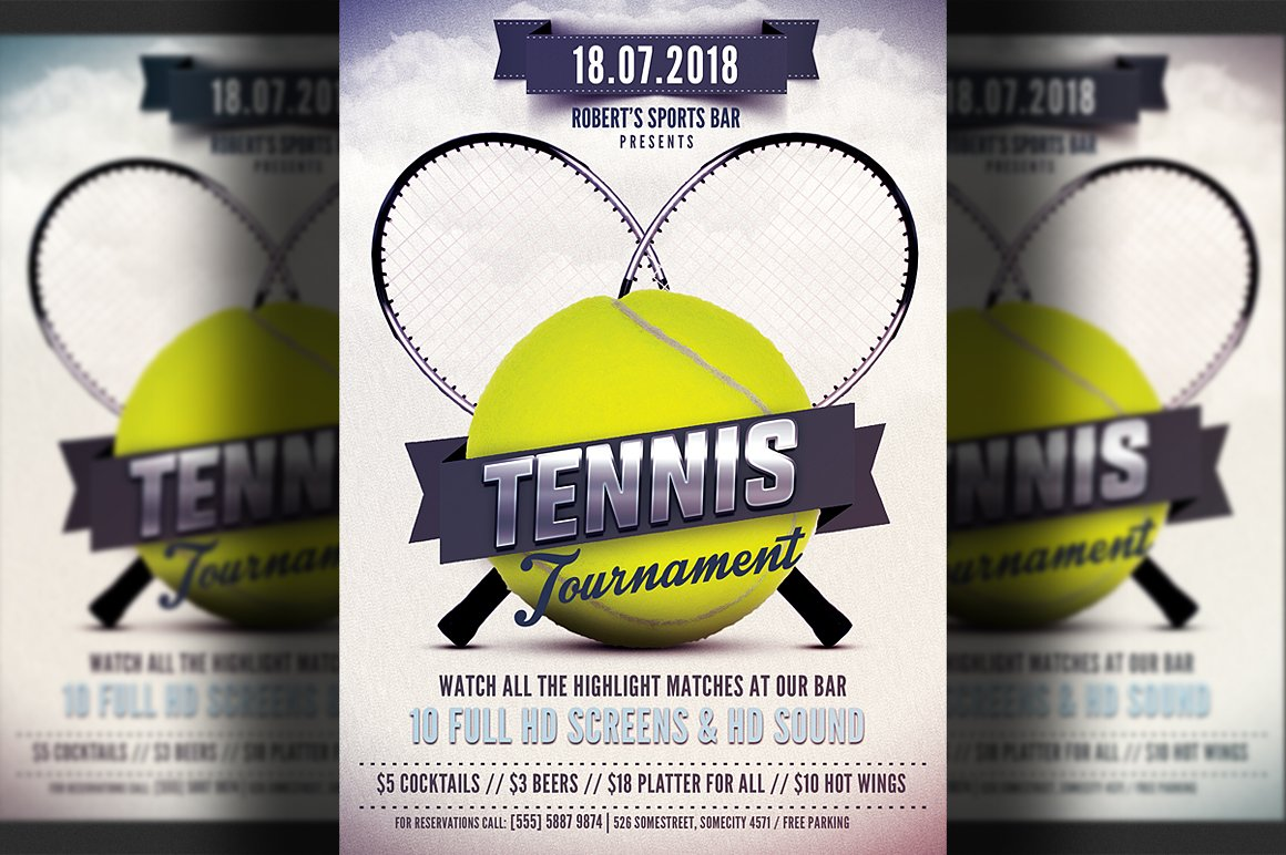 Tennis flyer template flyer templates creative market for Table tennis tournament template