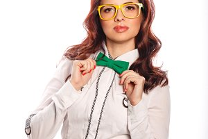 Girl with glasses and bow tie