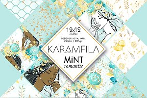 Mint & Gold Wedding Digital Paper