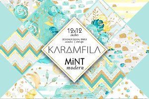 Mint & Gold Floral Patterns