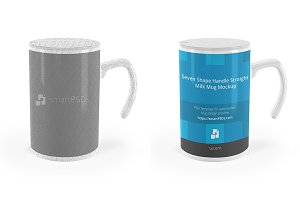 Handle Straight Milk Mug Mockup