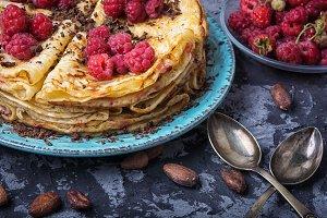 rustic pancakes with berries