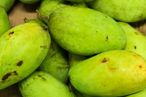 Fresh organic mango in market of tropical Bali island, Indonesia.