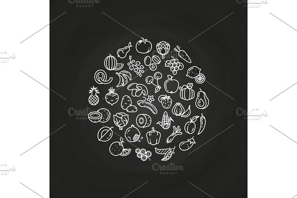 Line Fruits And Vegetables Logo On Chalkboard