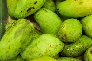 Fresh organic mango in market of tropical Bali island, Indonesia.