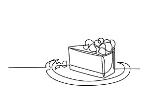 Continuous line drawing of piece cake