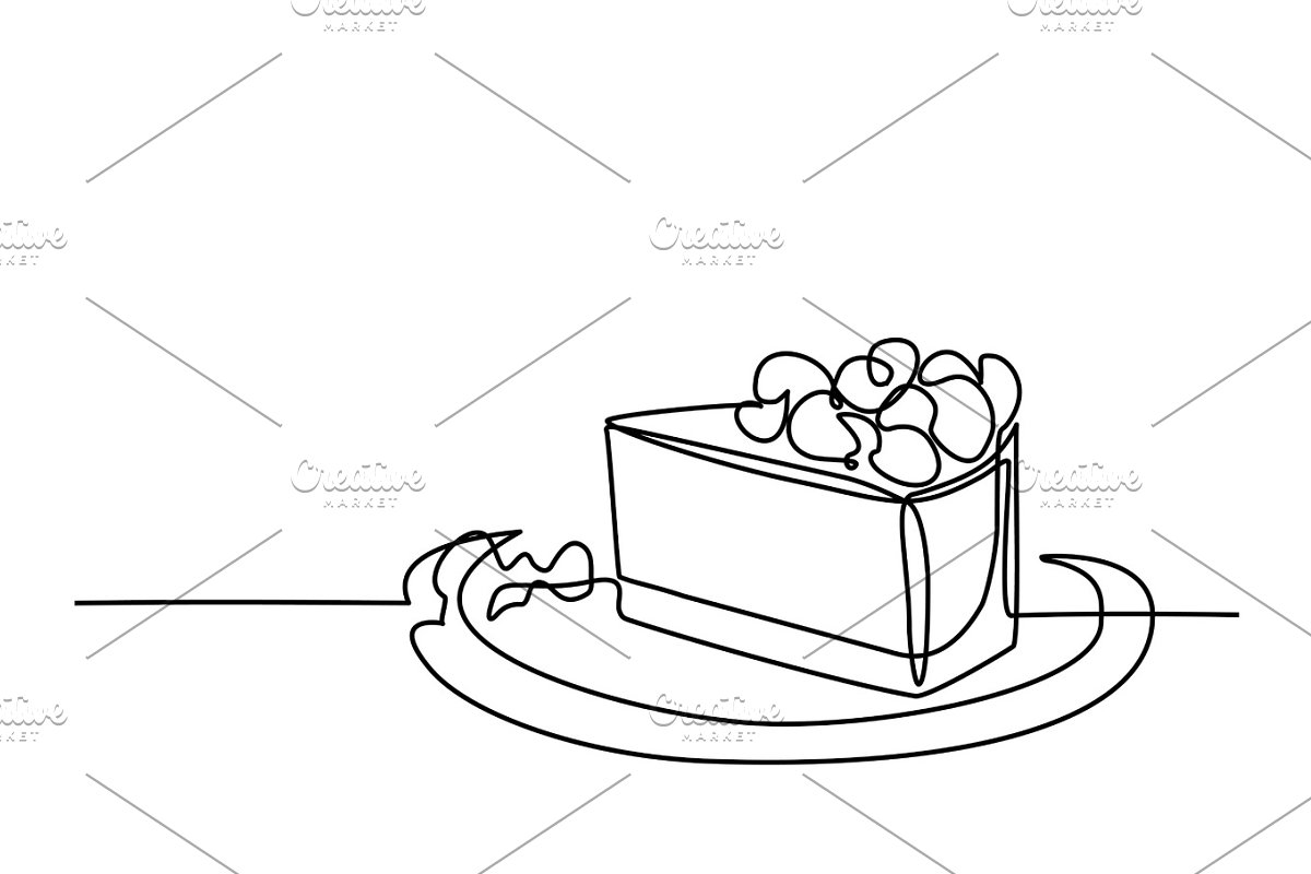 Line drawing of piece cake