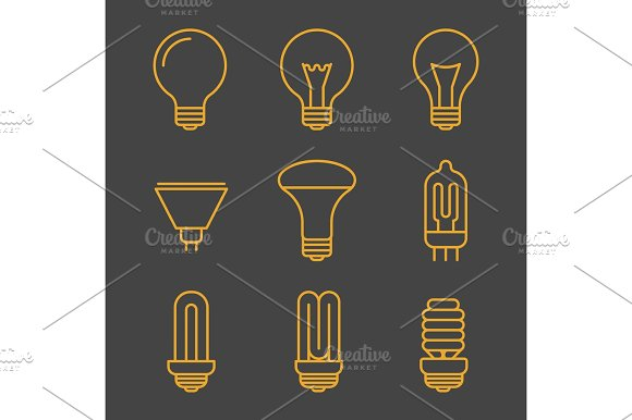 Yellow Light Bulbs Outline Icons
