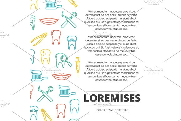 Dental Poster Design With Colorful Icons