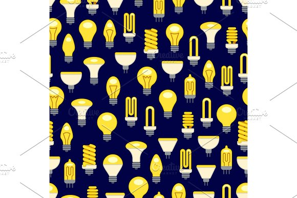 Bright Light Bulbs Seamless Pattern