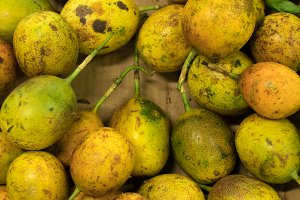 Tropical exotic passion fruit in organic market of Bali island, Indonesia.
