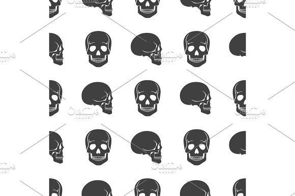 Human Skulls On White Seamless Pattern