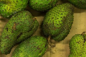 Exotic fruit sirsak searsak in organic market of tropical Bali island, Indonesia.