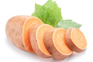 Sweet potato. Isolated on a white