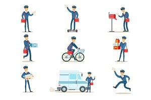 Postman In Blue Uniform With Red Bag Delivering Mail And Other Packages, Fulfilling Mailman Duties With A Smile Set Of Illustrations.