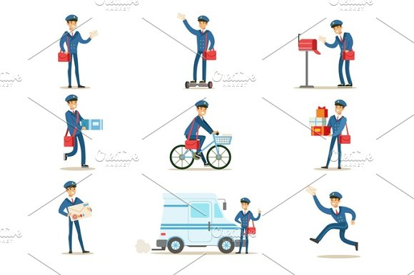 Postman In Blue Uniform With Red Bag Delivering Mail And Other Packages Fulfilling Mailman Duties With A Smile Set Of Illustrations