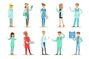 Doctors With Different Specializations Wearing Medical Scrubs Uniform Working In The Hospital Set Of Healthcare Specialists