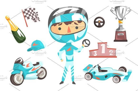 Boy Speed Racer Kids Future Dream Professional Occupation Illustration With Related To Profession Objects