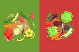 Still Life With Cooking Ingredients For Fresh Vegetarian Salad Raw And Vegetables Places Around Cutting Board Illustration