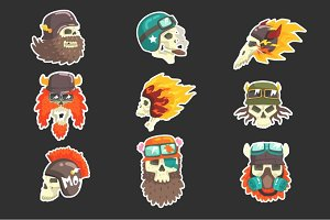 Colorful Scull Stickers With War And Biker Culture Attributes Set Of Vector Icons