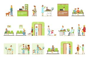 Smiling Cartoon Characters Bringing Their Pets For Vet Examination In Veterinary Clinic Collection Of Illustrations