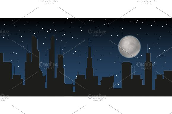Silhouette Of The City And Night With Stars And Fool Moon At The Dark Sky