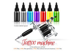 Tattoo Machine Realistic Set