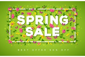 Spring Sale typography design