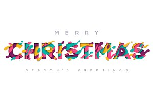 Merry Christmas typography on white background
