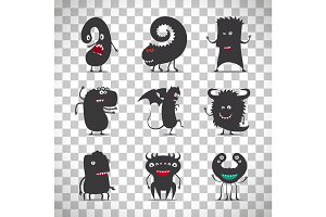 Cute black monsters on transparent background