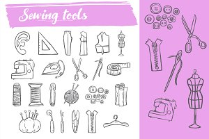 Sewing tool doodle icons