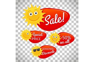 Summer sale labels on transparent background