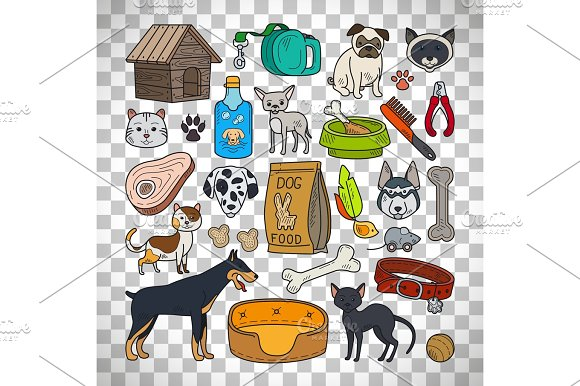 Cats And Dogs On Transparent Background