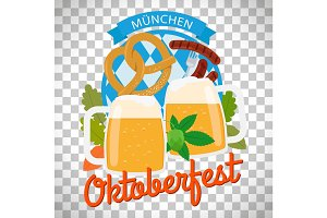 Oktoberfest poster on transparent background