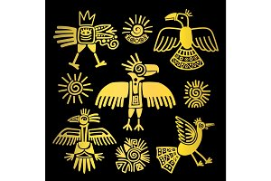 Primitive tribal golden birds paintings