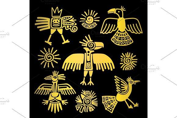 Primitive Tribal Golden Birds Paintings