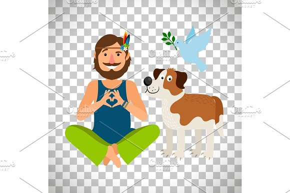 Hippie Peace Man With Dog