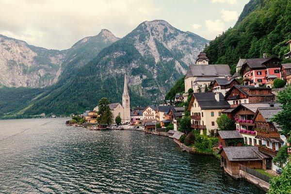 Hallstatt  village in the  Alps
