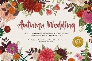 Autumn Wedding. Vector Floral Set