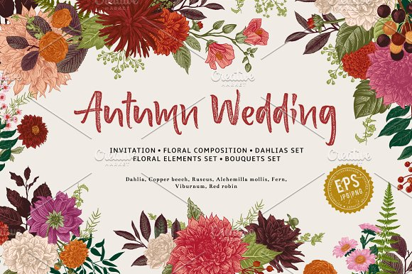 Autumn wedding vector floral set illustrations creative market stopboris Gallery