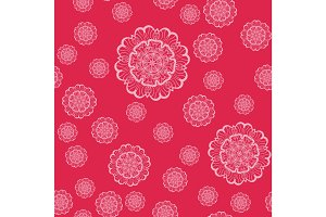 Pink Mandala Shapes Geometric Seamless Pattern. Repeating Background Texture in Pink Colour. Stylish Vector Illustration Print