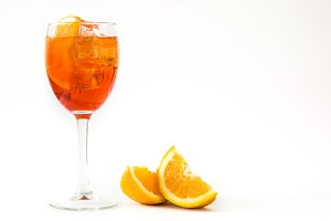Aperol spritz cocktail in glass