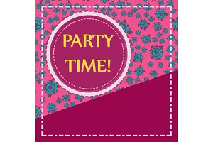 Round frame of pink color over hand drawn elements seamless background. Childish Party Poster. Flyer, Greeting Card, Invitation.