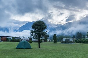 Camping in the mountains at dawn