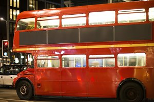 Red vintage bus and classic style ta