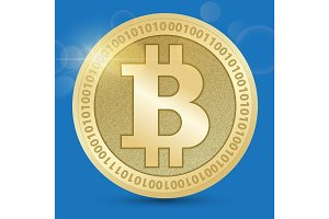 Digital Bitcoin Golden coin with Bitcoin symbol in electronic environment coins ryptocurrency physical colored bitcoin coins