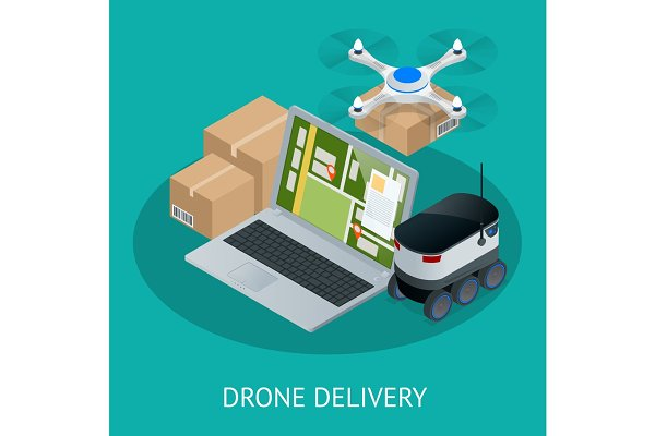 Isometric Drone Fast Delivery of go…