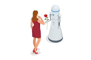 Artificial Intelligence. A robot gives a woman a rose flower. 8 March concept. Caring and love.