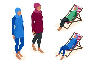 Muslim woman in swimsuit. Isometric Muslim, Islamic, traditional clothing on female. Vector illustration isolated on white.