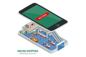 Isometric online shopping concept. Smart phone online shopping. Buy shoes, clothes, accessories, products, perfumes, appliancesaccessories with e commerce web site